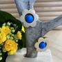 Kukkais-korvakorut, sininen