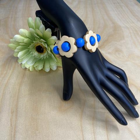 Kukkais-rannekoru, sininen