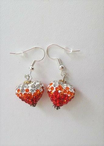 Bling-sydänkorvakorut, punainen