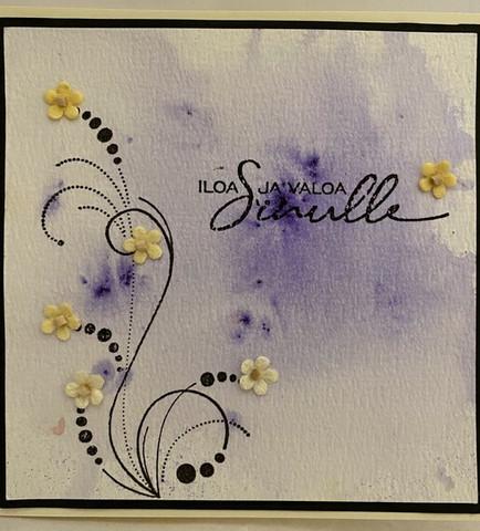 Kortti tervehdys iloa ja valoa lila kiekura