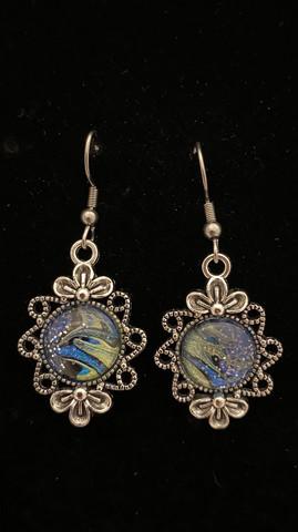 Kynsilakka korvakorut kukka sinivihreä
