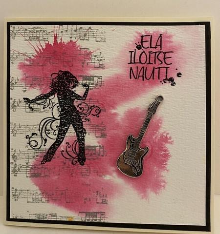 Kortti musiikki pinkki kitara