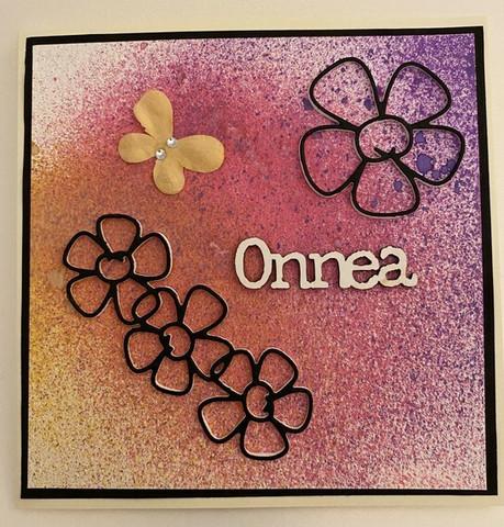 Kortti kukka ja perhonen pinkki
