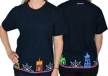 Rauma t-paita jossa helmaan kiertää Rauman hienot maamerkit