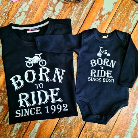 Born to ride since (vuosiluku) paita isälle ja lapselle body.