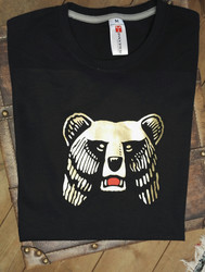 Karhu t-paita, kuva hopeisena, kultaisena tai pinkkinä tai ...