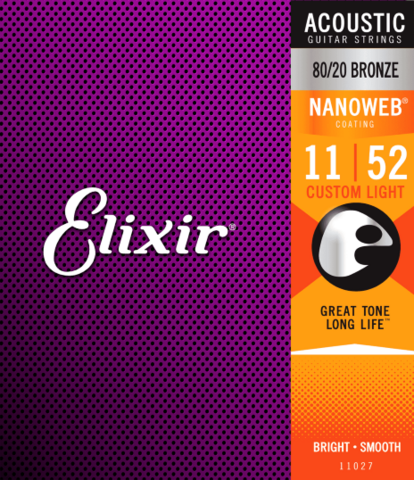 Elixir Nanoweb 11-52 80/20 Bronze - Acoustic Guitar Strings