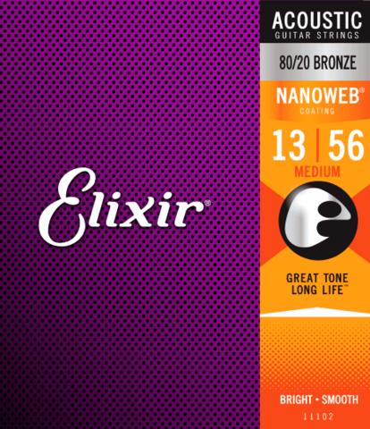 Elixir Nanoweb 13-56 80/20 Bronze - Acoustic Guitar Strings