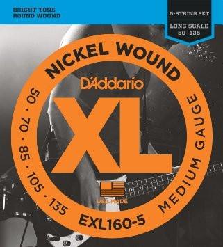 Daddario EXL160-5 Nickel Wound 50-135, till 5-strängad elbas