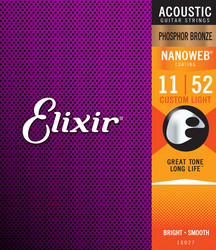 Elixir Nanoweb PB 11-52 Phosphor Bronze - Acoustic Guitar Strings