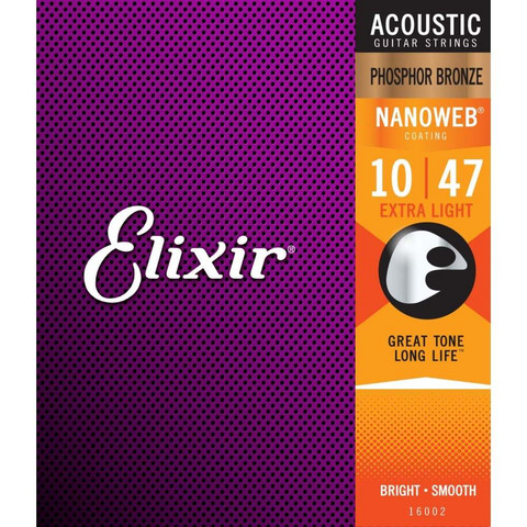 Elixir Nanoweb PB 10-47 Phosphor Bronze - Acoustic Guitar Strings