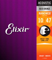 Elixir Nanoweb 10-47  80/20 Bronze - Acoustic Guitar Strings