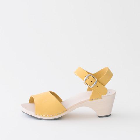Wooden sandal Paula, citron (nubuck)
