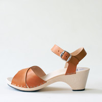 Wooden sandal Laura, cognac (vegetable-tanned)