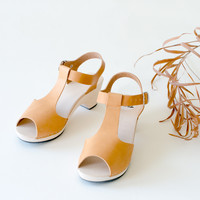 Wooden sandal Sofia, honey (vegetable-tanned)