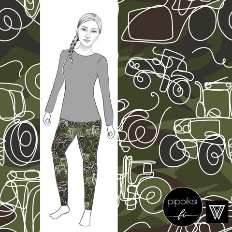 Leggings for adults, Camo traktori jersey S-XXXL