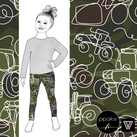 Leggings for kids, Camo traktori jersey. 56-158cm