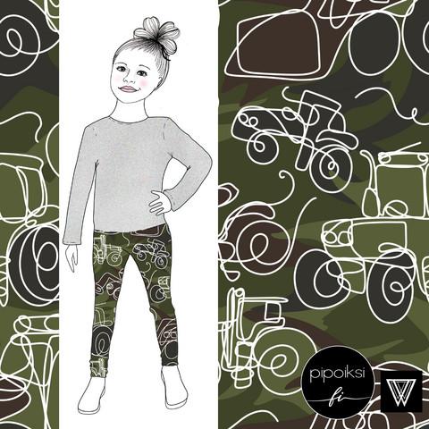 Leggings for kids, Camo traktori jersey. 56-158cm