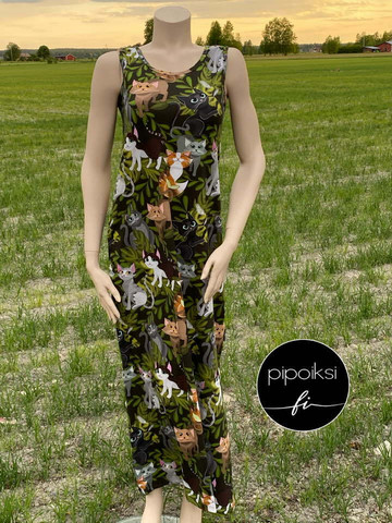 Custom made product. Kattikaverit maxidress, choose the length of your sleeve XS-XXXL. Several colors.