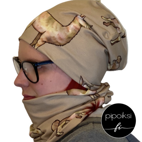 Custom made product. Tubular scarf, Laama. Several colors.