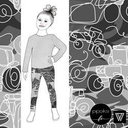 Leggings for kids, Camo Traktori sweatshirt knit. 56-158cm