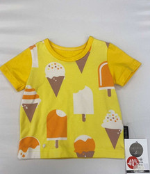 Ready made product. T-shirt, ice-cream, yellow