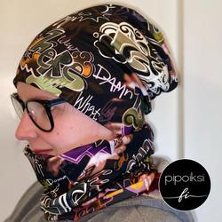 Custom made product. Wrinkled beanie, Graffiti