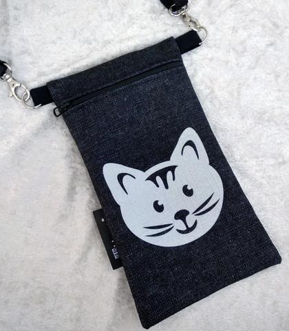 Heijastava kännykkäpussi Kissa (farkku)