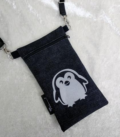 Heijastava kännykkäpussi Pingviini (farkku)