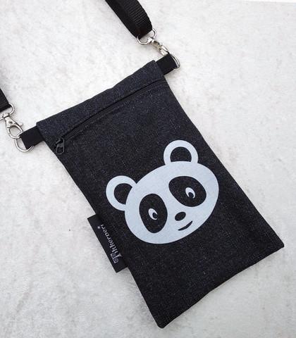 Heijastava kännykkäpussi Panda (farkku)