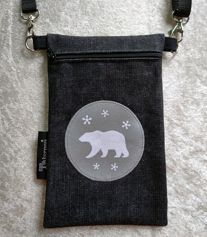 Heijastava kännykkäpussi Jääkarhu (farkku)