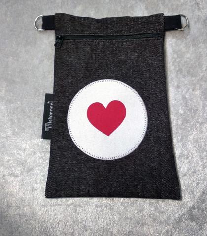 Heijastava kännykkäpussi Sydän (punainen)