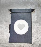 Heijastava kännykkäpussi Sydän (valkoinen)
