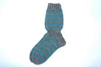 Raitasukat, koko 42-43, harmaa-petroolin sininen