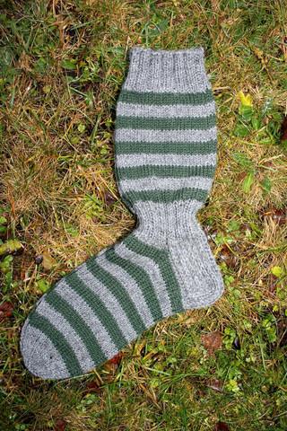 Raitasukat, koko 42-43, harmaa-vihreä