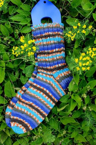 Sini-oranssi-kirjavat sukat 39-40, värikoodi 136