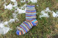 Sini-oranssi-kirjavat sukat 38-40, värikoodi 136