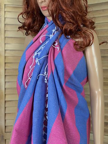 Sunset Hammam-towel Ocean Blue-Fuchsia