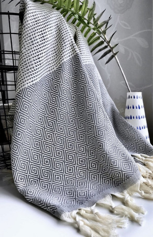 Diamond Stripe Hammam Towel Grey