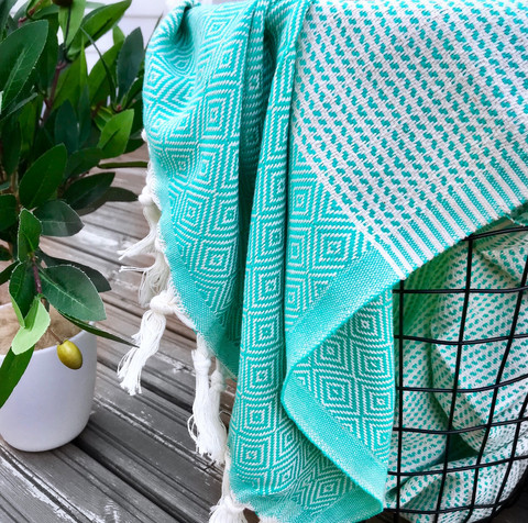 Diamond Stripe Hammam Towel Mint