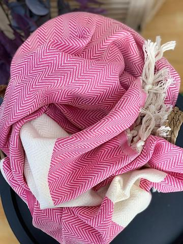 Chevron Hamam Handduk Candy Pink
