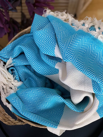 Chevron Hammam Towel Turquoise