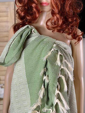 Diamond Stripe Hamam Handduk Olive Green