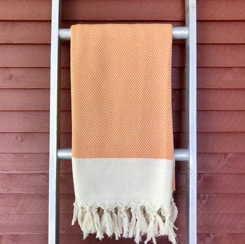 Herringbone Diamond Handloomed Hammam Towel Orange