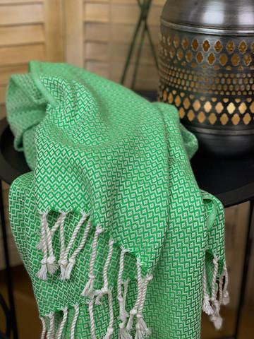 CRYSTAL Hand-loomed Hammam Towel Grass Green