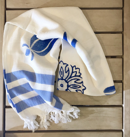 Bamboo Hammam Towel Natural White with Blue Wooden Print