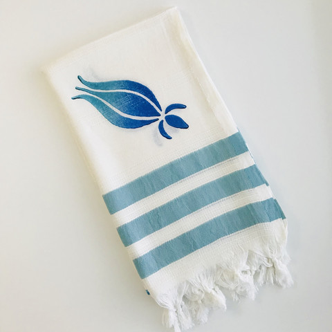 Bamboo Hammam Towel Natural White with Green-Blue Wooden Print