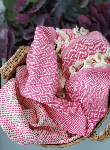 Diamond Stripe Hamam Handduk Candy Pink
