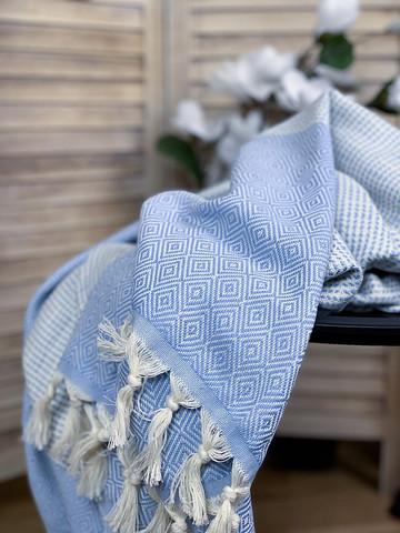 Diamond Stripe Hammam Towel Baby Blue