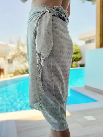 LINEN Hand-loomed Hammam Towel Grey Beige Waves